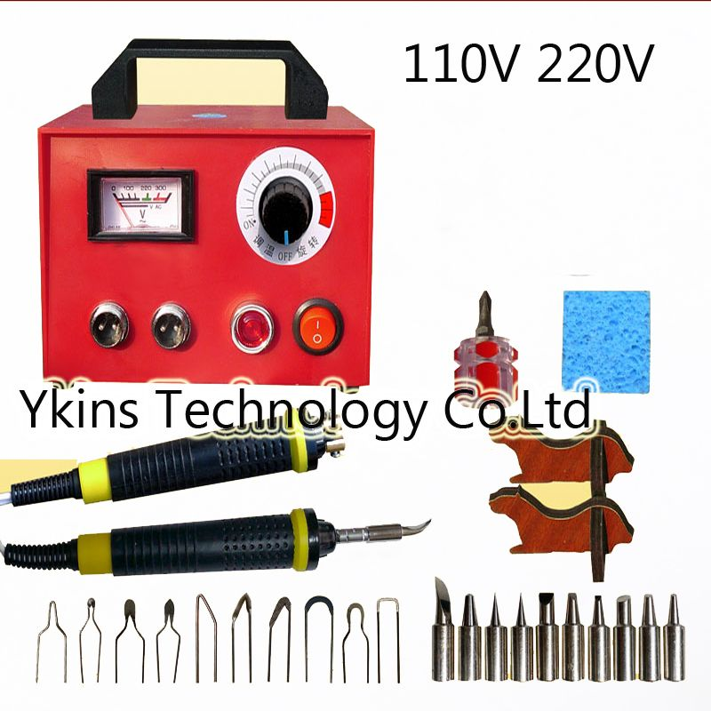 Professional Pyrography toolkit Multifunction Pyrography machine+10 pcs Pyrography Tips +10pcs solder tips+2pcs cutter pen