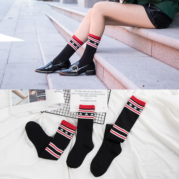 Autumn and winter over knee socks warm socks ladies cotton star with paragraph tube socks fashion three sizes selected