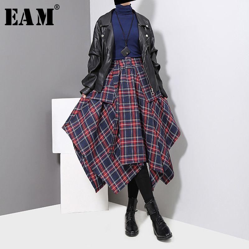 [EAM] 2018 New Autumn Winter High Waist Red Plaid Split Joitn Loose Big Hem Half-body Skirt Women Fashion Tide All-match JD402