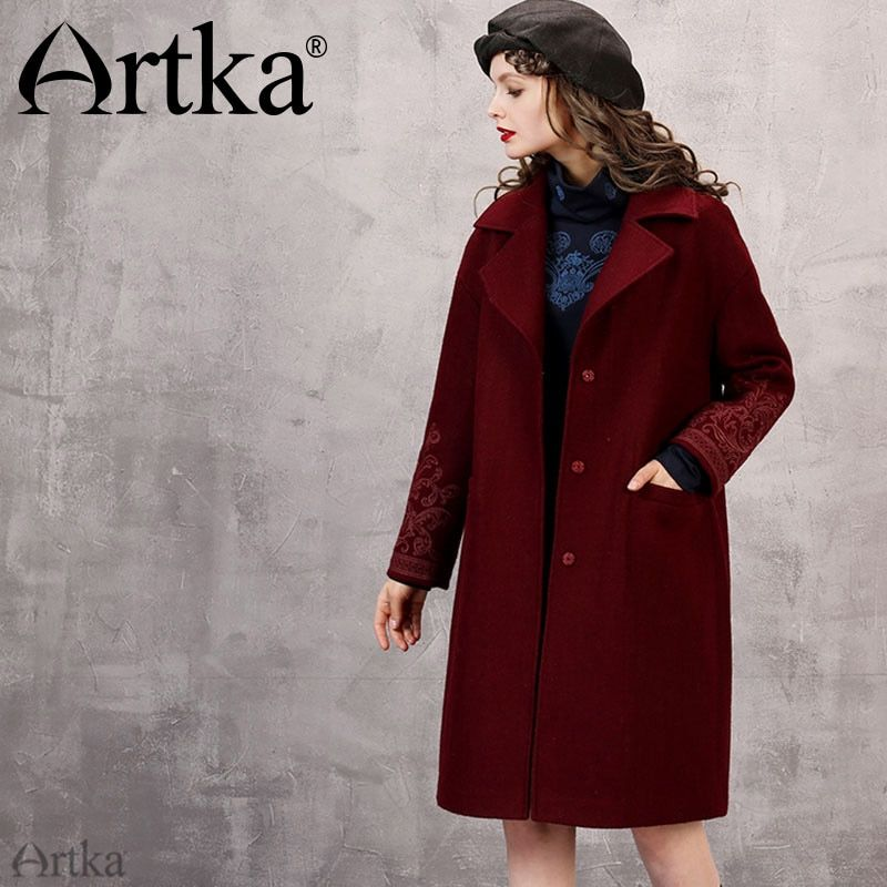 Artka 2018 Autumn& Winter New Collections 55% Wool Contained Vintage Wine Red Embroidery Button Middle Long Coat FA10266D