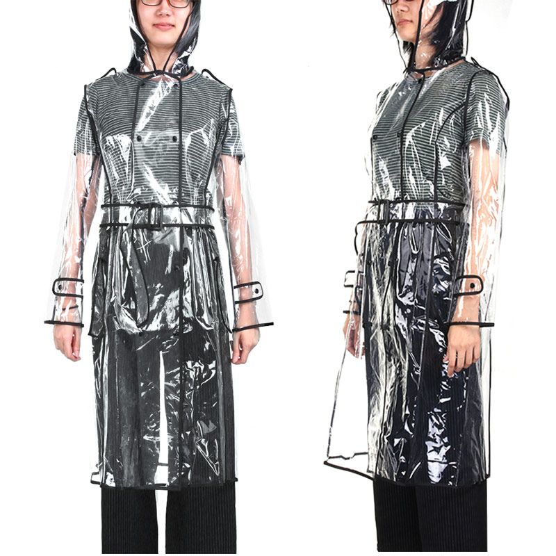 EVA Transparent Raincoat With Belt Long Raincoat for Women Waterproof Jacket Windbreaker Rain Poncho <font><b>Outdoors</b></font> capa de lluvia