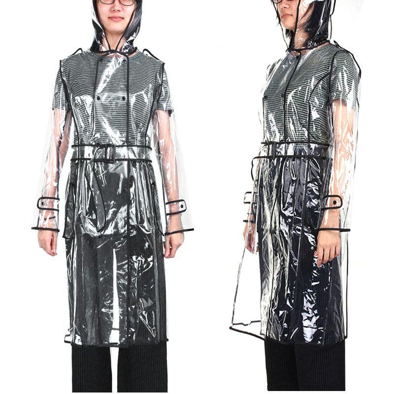 EVA Transparent Raincoat With Belt Long Raincoat for <font><b>Women</b></font> Waterproof Jacket Windbreaker Rain Poncho Outdoors capa de lluvia