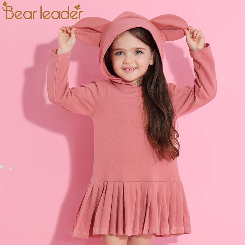 Bear Leader Girls Dress 2017 New Autumn Brand Baby Girls Blouse Rabbit Ears Hooded Ruched Long Sleeve Children Dress 2-6 Years
