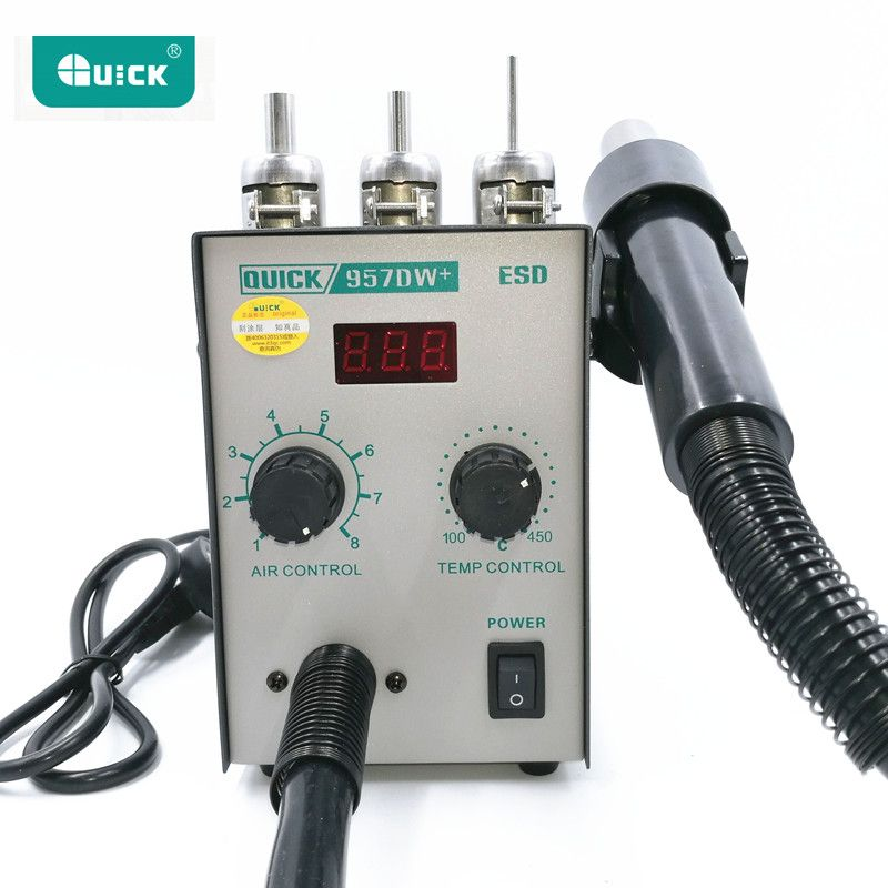 220V Upgrade QUICK 957DW+ LED Display Adjustable Hot Air Heat Gun With Helical Wind 400W SMD rework station With 3 Air Nozzles