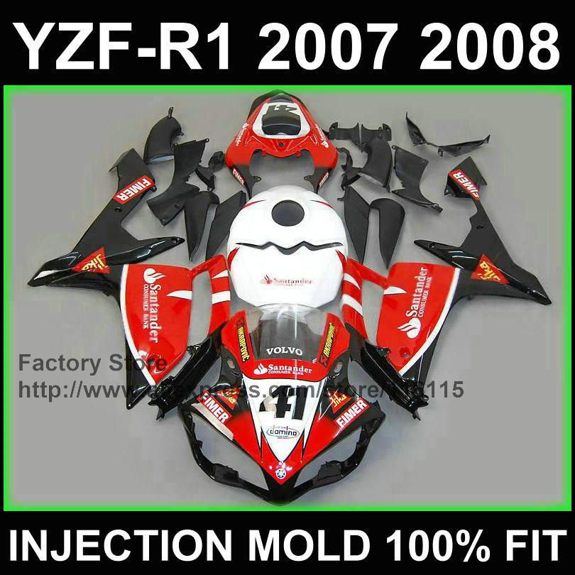 Custom motorcycle injection Road fairings kits for YAMAHA 2007 2008 YZFR1 YZF R1 07 08 red santander 41 fairing parts+tank cover