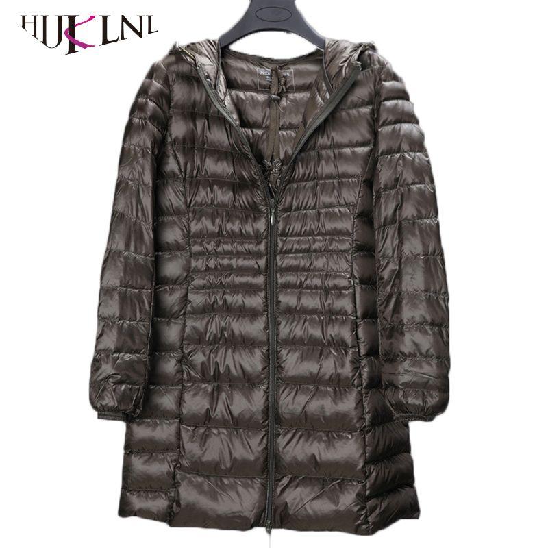 HIJKLNL 2017 plus size winter women long down jackets 5XL 6XL ultralight down parkas with pocket female hooded down coat PL048