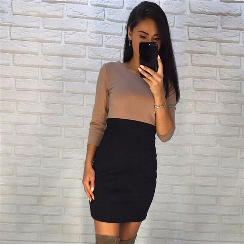 Autumn Dress 2017 Casual Patchwork Mini Dresses O-Neck Three Quarter sleeve Bodycon T Shirt Dress
