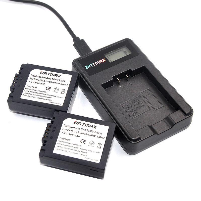 2X CGA-S006 S006 DMW-BMA7 S006A CGR-S006E Battery +LCD USB Charger for Panasonic Lumix DMC-FZ7 FZ8 FZ18 FZ28 FZ30 FZ35 FZ38 FZ50