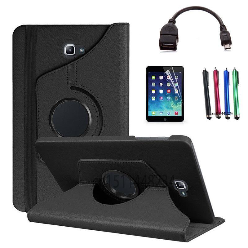 Stylus + écran économiseur + OTG câble de données + Cas pour Samsung Galaxy Tab Un A6 10.1 2016 SM-T580 T580N T585 T585C PU En Cuir Tablet couverture