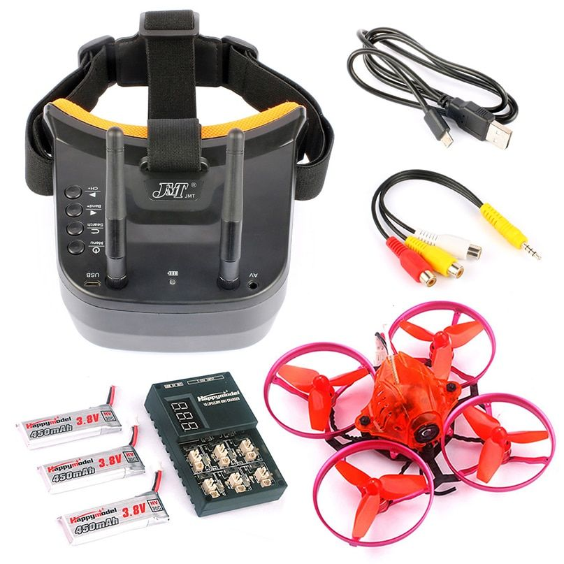 JMT Snapper7 BNF Whoop Brushless Racer Drone Tiny 75mm FPV 700TVL HD Camera VTX & Double Antenna 5.8G Video Goggles for Frsky RX