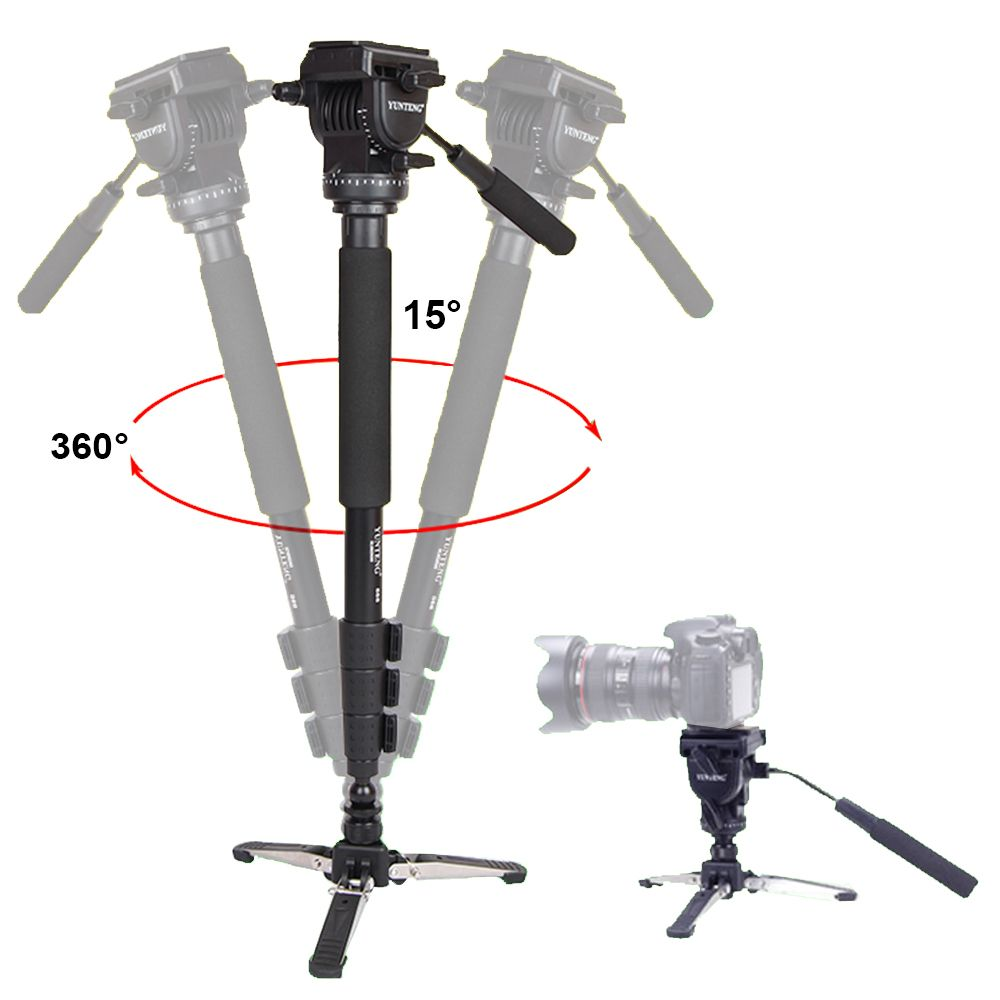 Yunteng 588 Pour Canon Nikon Sony Téléphones DSLR Caméra DV Caméscope Photographie Trépied Monopode Fluide Drag Chef Mise À Jour De VCT-288