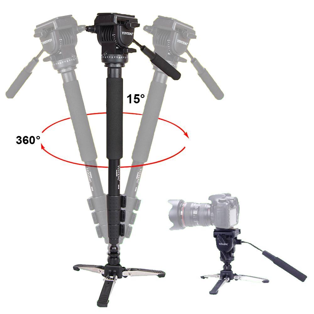 Yunteng 588 pour Canon Nikon Sony téléphones DSLR appareil photo DV caméscope photographie trépied monopode fluide glisser tête mise à jour de VCT-288