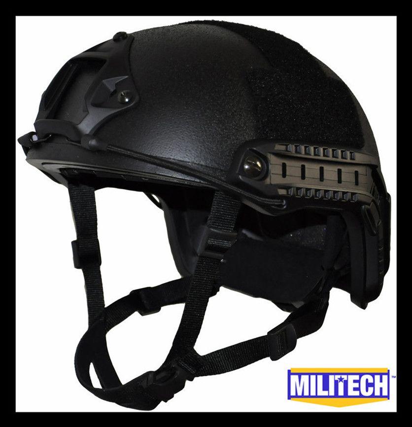 ISO Zertifiziert MILITECH Schwarz OCC Zifferblatt NIJ Ebene IIIA 3A SCHNELLE High Cut Kugelsichere Kevlar Ballistischen Helm Mit 5 Jahre garantie