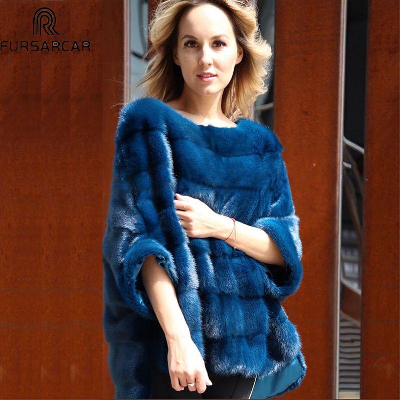 FURSARCAR Luxus Frau Echt Nerz Pelzmantel Echten Pelz Poncho Natürliche Winter Jacke für Weibliche Ganz Pelt Echt Pelz Cape schal Mantel