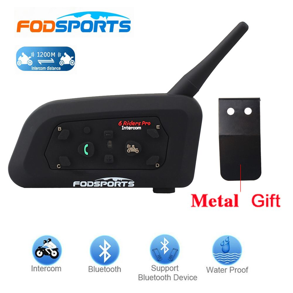Fodsports!2018 New 1 pcs V6 Pro 1200M multi BT Interphone Wireless Motorcycle Helmet Bluetooth Headset Intercom for 6 Rider
