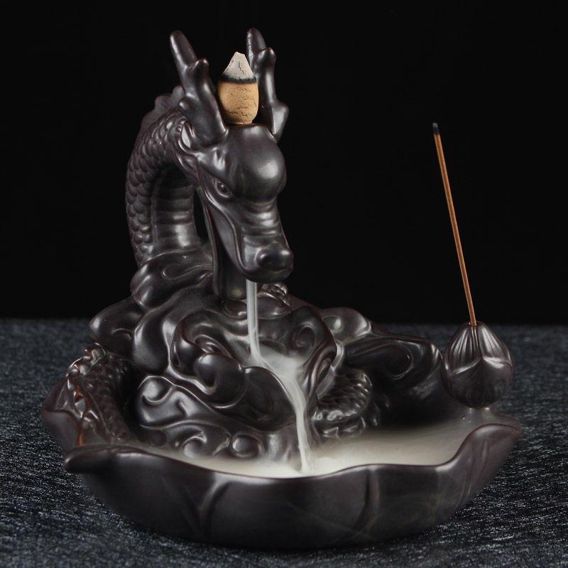 Backflow Incense Burner Creative Home Decor Ceramic Dragon Incense Holder Censer + 20Pcs Incense Cones