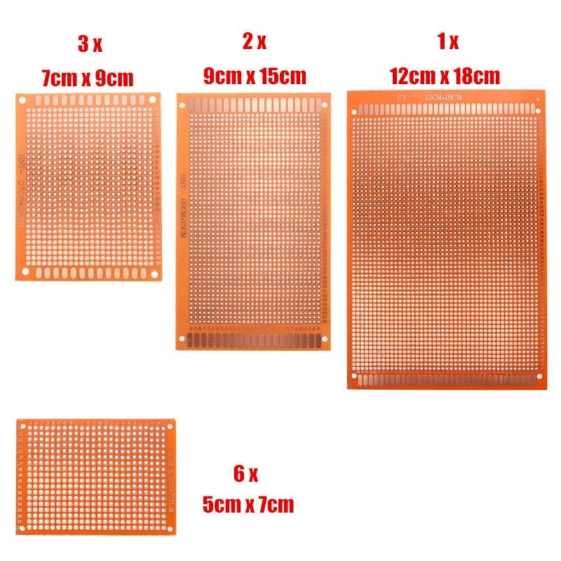 Universal Electronic Circuit Breadboard 12pcs/Set Prototyping PCB Printed Circuit Board Prototype Stripboard DIY Copper Plate