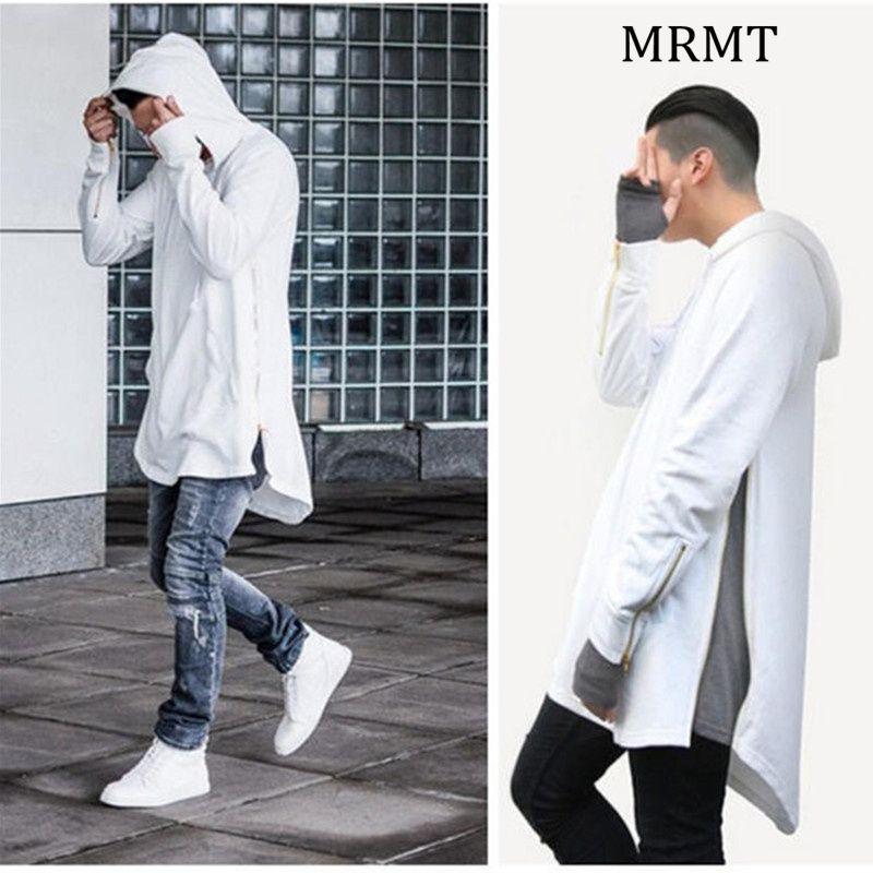 2018 Mens Hoodies Sweatshirts High Street Long Zipper Sweatshirt Cut Extended Zip Hoody Men male