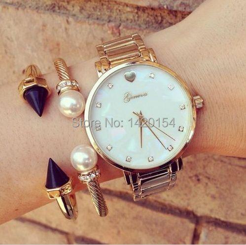 Модные женские Женева перламутровый циферблат женские золотые часы наручные часы