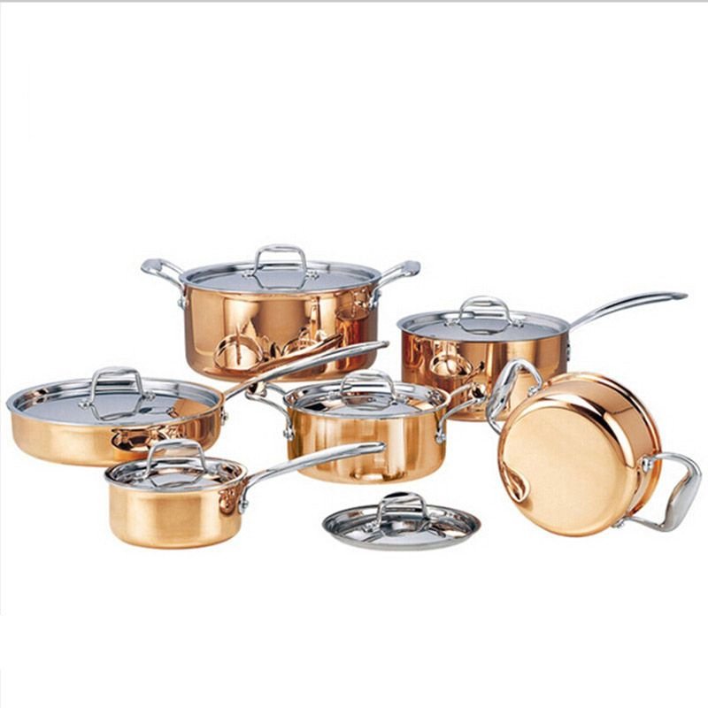 High-grade Kupfer 6 stücke Kochen Töpfe Mit Braten Pan Edelstahl Topf Hot Pot Und Pfannen Kochgeschirr Set