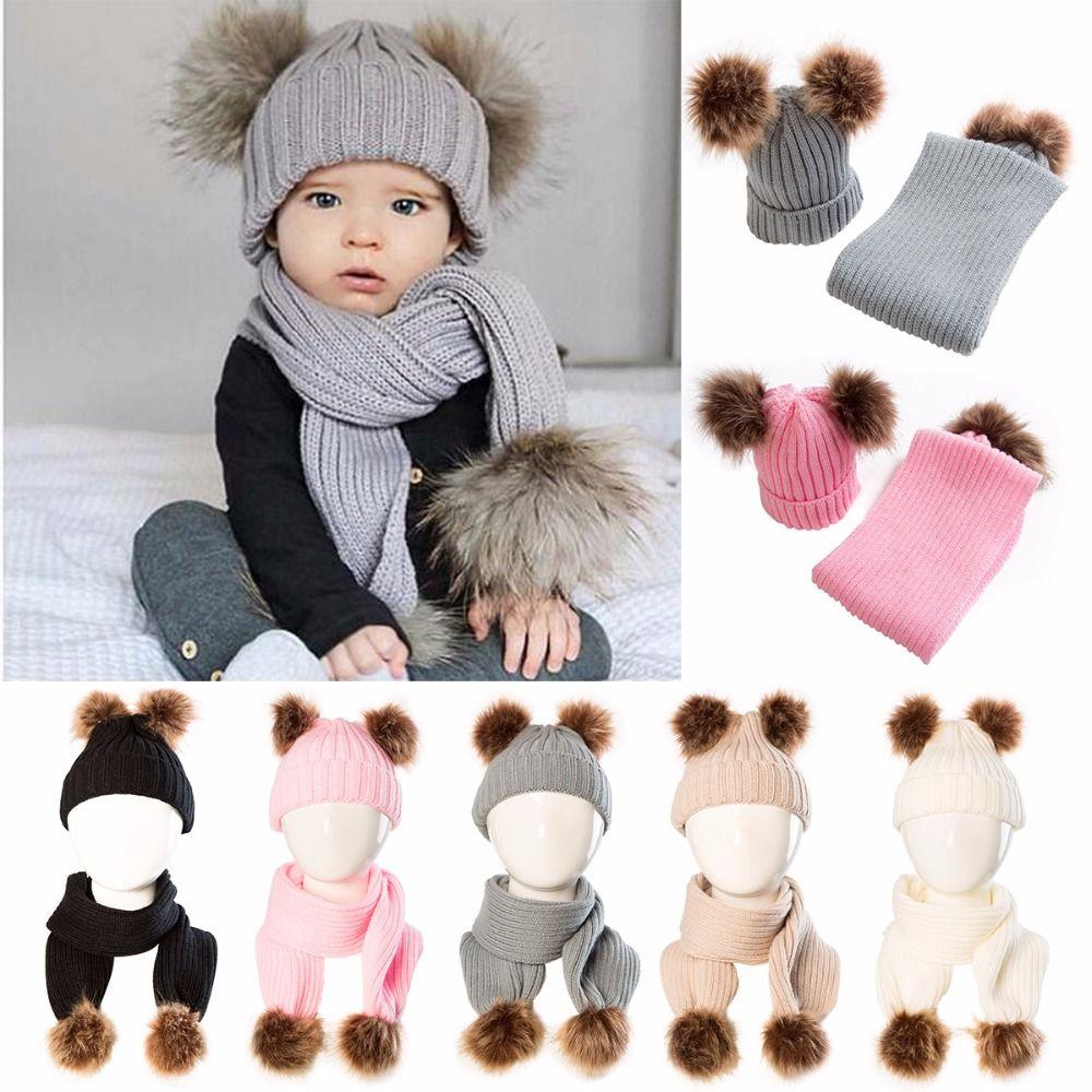 2018 Winter Puseky Infant Toddler Baby Boys Girls Fur Pom Pom Ball Knit Warm Beanie Cap Ski Hat+Scarf Warm Crochet Headgear Set
