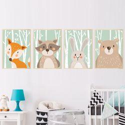 Forêt Mignon Animaux Renard Lapin Ours Girafe Toile Peinture Art Print Affiche Pépinière Mur Photo Enfants Chambre de Bébé Décor À La Maison