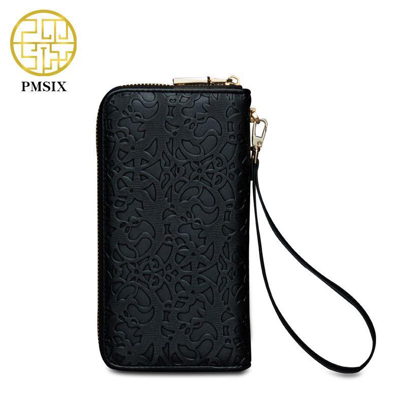 Pmsix nouvelle mode femmes portefeuille marque longue gaufrage fleur Design femme PU cuir portefeuilles haute qualité femme sac à main pochette