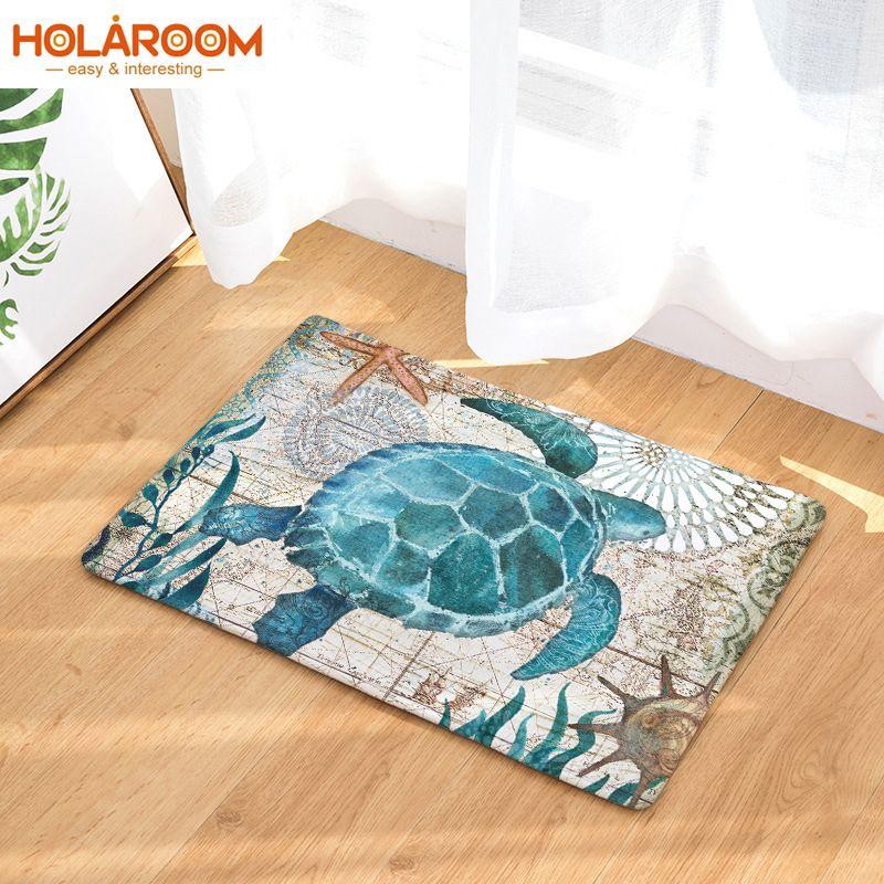 Anti-slip Turtle Print Mats Hippocampus octopus whale Pattern doormat Bathroom Floor Kitchen Rugs Caton Entrance carpet