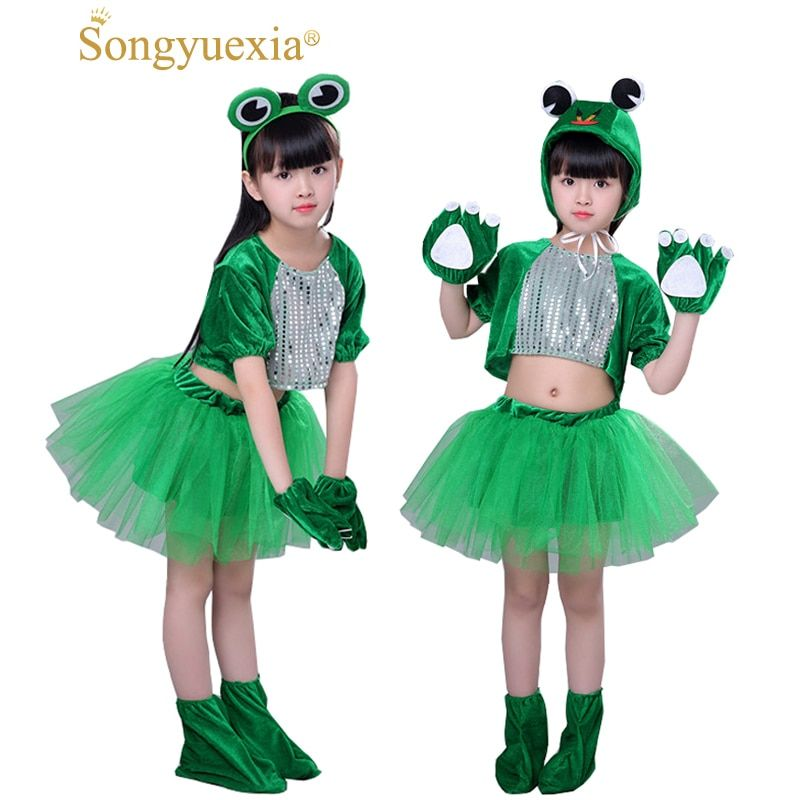 Songyuexia Children adpole Small <font><b>Jump</b></font> Frog Small Frog Cartoon Animal Dance Costumes Stage Jazz Modern Cheerleading clothes