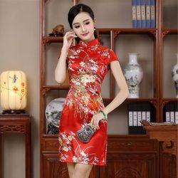 Chinois traditionnel moderne qipao de mariage robe rouge robes cheongsam plus la taille avec broderie noir sexy soie courtes 2016 femme