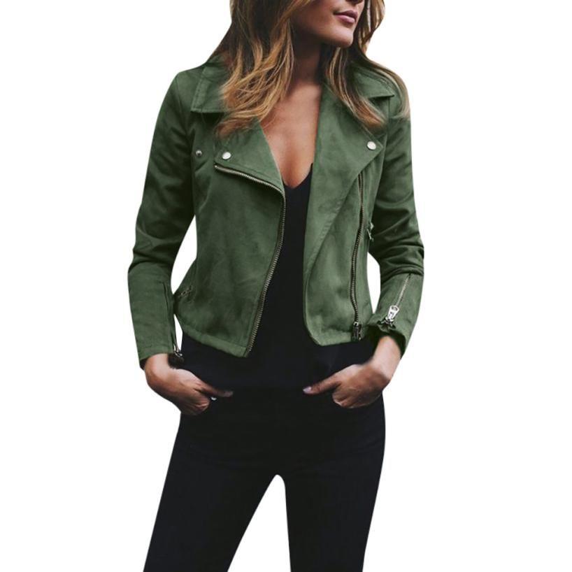 #4 DROPSHIP 2018 NEW Fashion Womens Ladies Retro Rivet Zipper Up Bomber Jacket Casual Coat Outwear Sexy Freeship