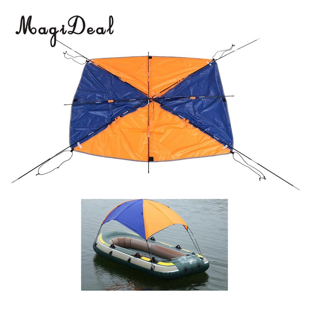 MagiDeal 2 /4 Person Inflatable Boat Sun Shelter Awning Top Cover Fishing Tent Sun Shade for Marine Canoe Kayak Boat Supplies