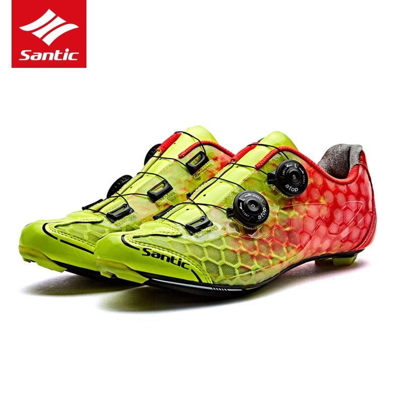 2017 New Santic Road Cycling Shoes Ultralight Carbon Fiber Road Bike Shoes PRO Racing Team Self-locking Athletic Bicycle Shoes