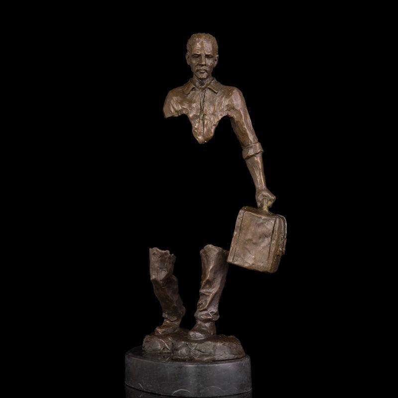 Copper Bronze Statues Abstract Man Figurine Traveller Figure Brass sculpture Soul Journey Modern Studio Decor