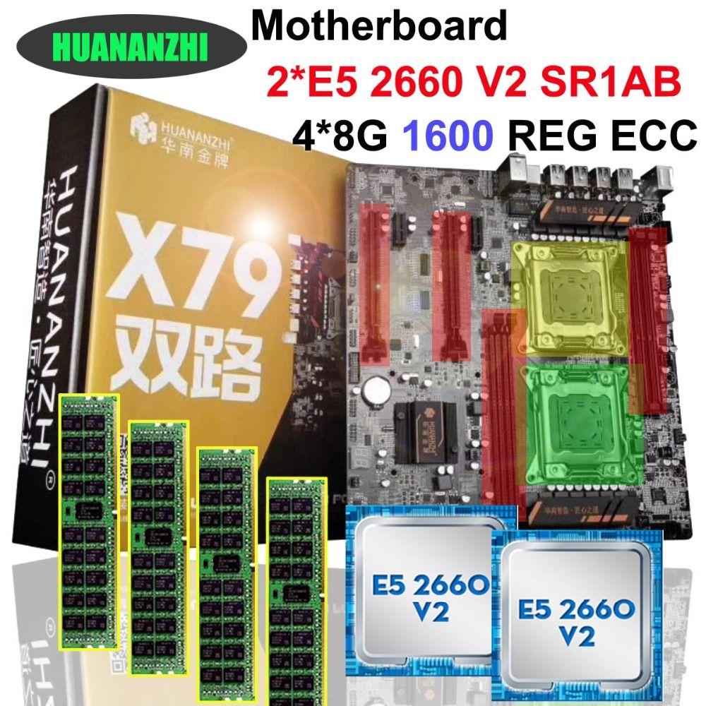 Brand HUANAN ZHI dual CPU discount X79 motherboard CPU RAM combos CPU Intel Xeon E5 2660 V2 SR1AB 2.2GHz RAM 32G(4*8G) REG ECC