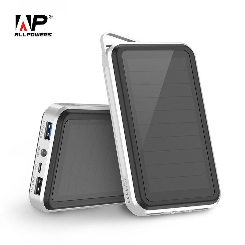Allpowers 15000 mAh Solaire Exernal Batterie Solaire Power Bank Extérieur Solaire Chargeurs de Téléphone pour Smartphone Comprimés PC etc.