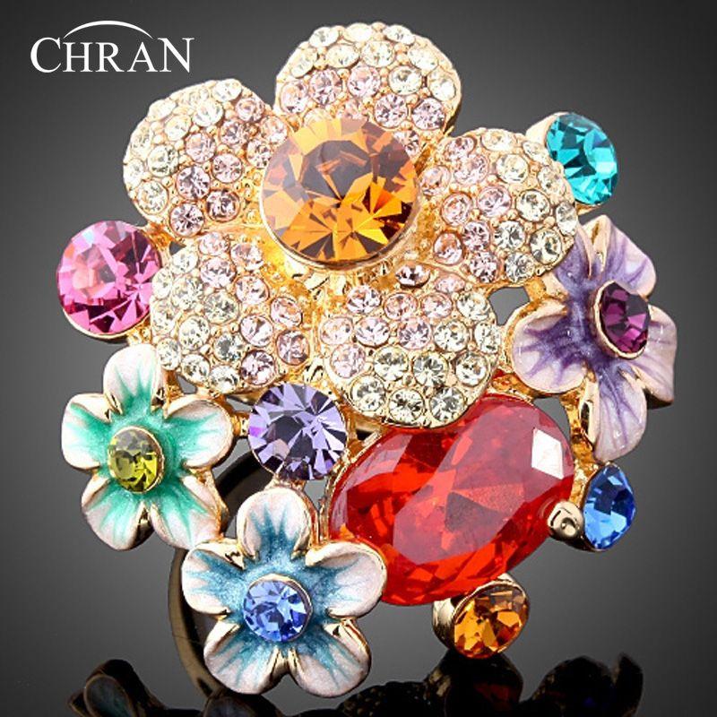 CHRAN marque bijoux classique émail fleur cubique zircone anneaux Promotion élégante mode cristal bagues de fiançailles pour les femmes