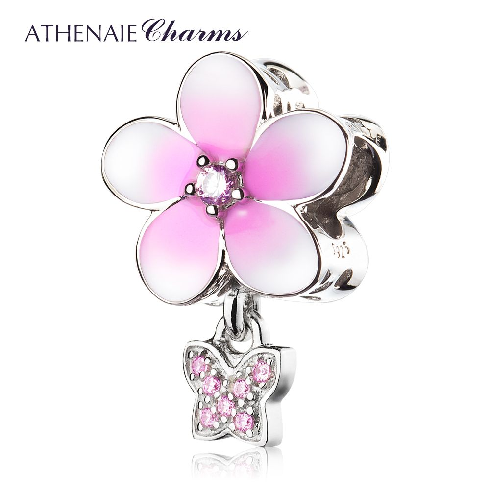 ATHENAIE 925 Sterling Silver Magnolia Bloom Pale Cerise Enamel and Pink CZ Butterfly Bead Charms Fit Bracelets & Necklace