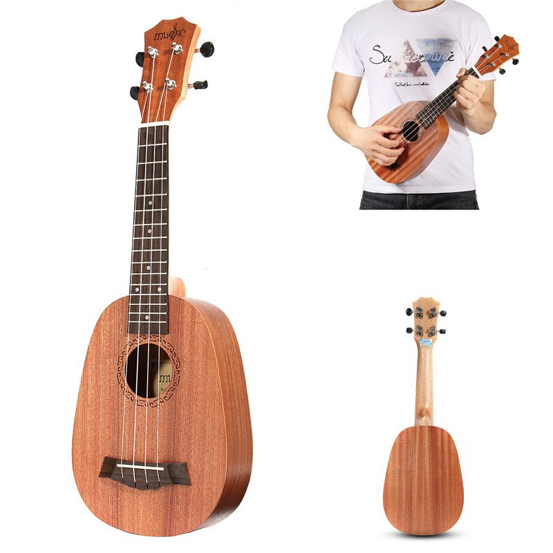Zebra 21'' Pineapple Style Mahogany Hawaii Ukulele Uke Electric 4 Strings Bass Guitar Guitarra For Musical Stringed Instruments