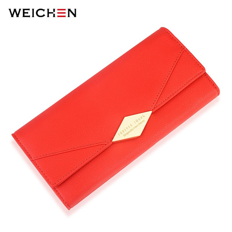WEICHEN Brand Geometric Women Wallet Large Capacity Long Card Holder Phone Pocket PU Leather Lady Clutch Female Wallets Carteira