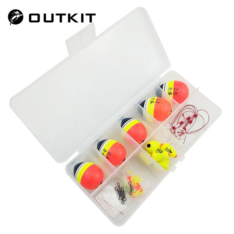 OUTKIT Sea Fishing Floats Set Buoy Bobber Boia Fortune Paulownia Wood Floats For Pesca R Fishing Tackle Accessories With Box