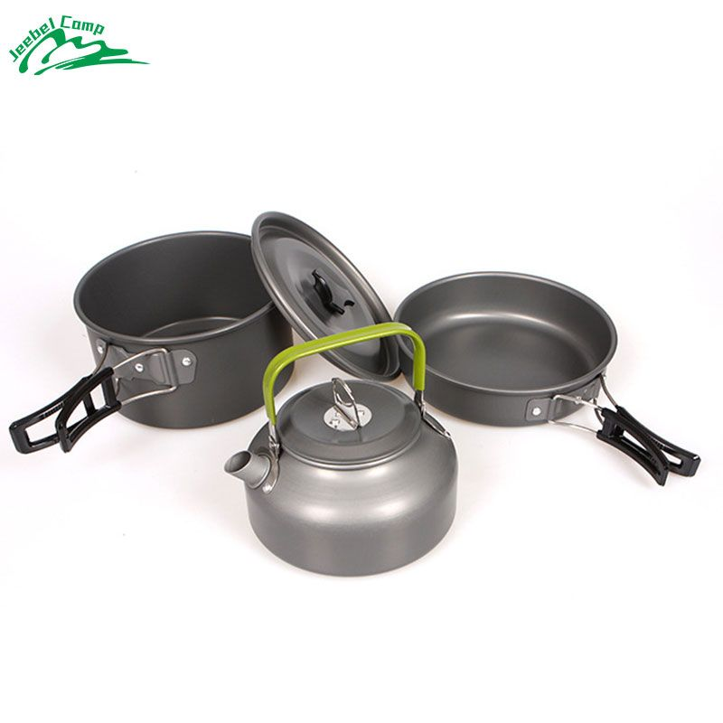 Jeebel Cookware Outdoor Camping Tableware Pot Picnic Canteen <font><b>Survival</b></font> Hiking Military Boiler Frying Teapot Set Kettle cutlery