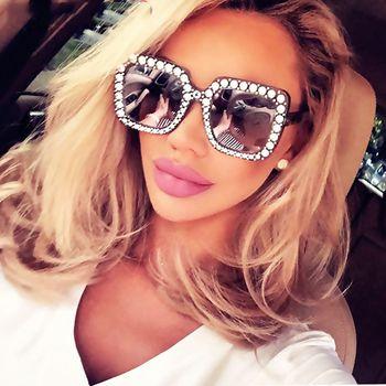 Shining Diamond Sunglasses Women Brand Design Flash Square Shades Female Mirror Sun Glasses Oculos Lunette