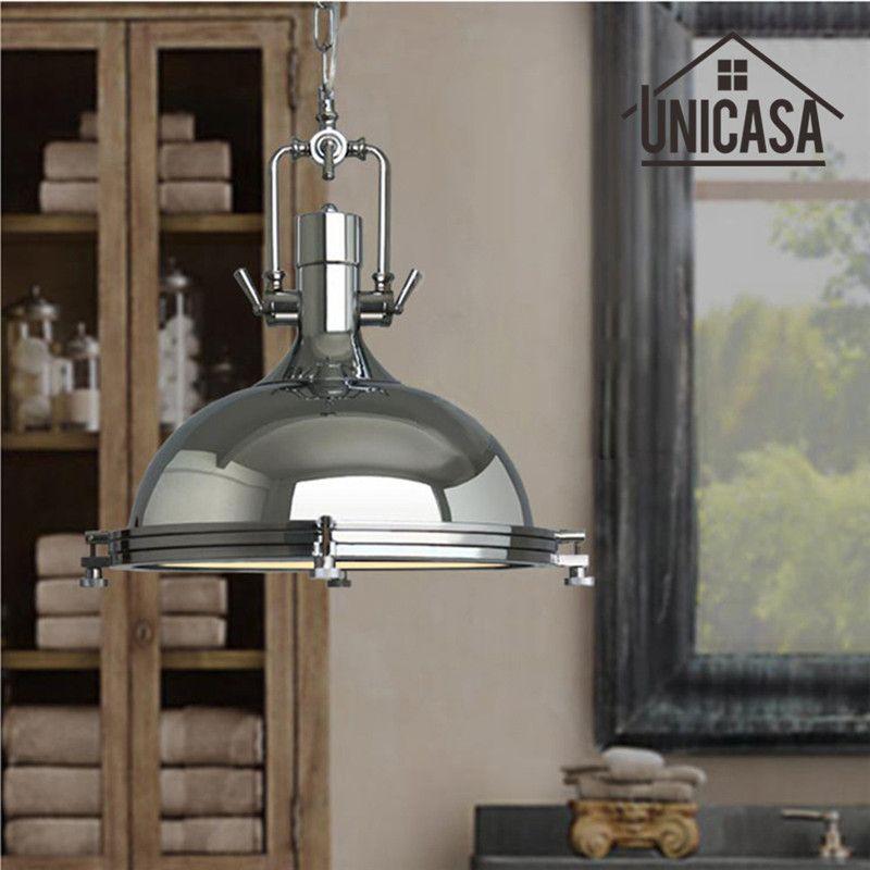 Vintage Industrial Pendant Lights Wrought Iron Lighting Bar Hotel Kitchen Island Silver LED Light Antique Pendant Ceiling Lamp
