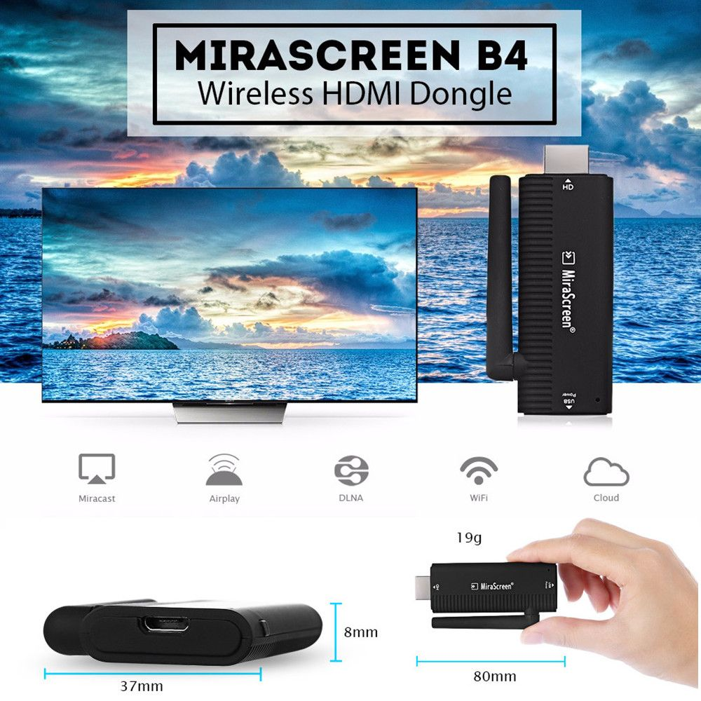 MiraScreen B4 Wireless HDMI Dongle AM8252B CPU 2.4GHz Wifi Full 1080P 128MB RAM Media TV Stick Support Miracast Airplay DLNA