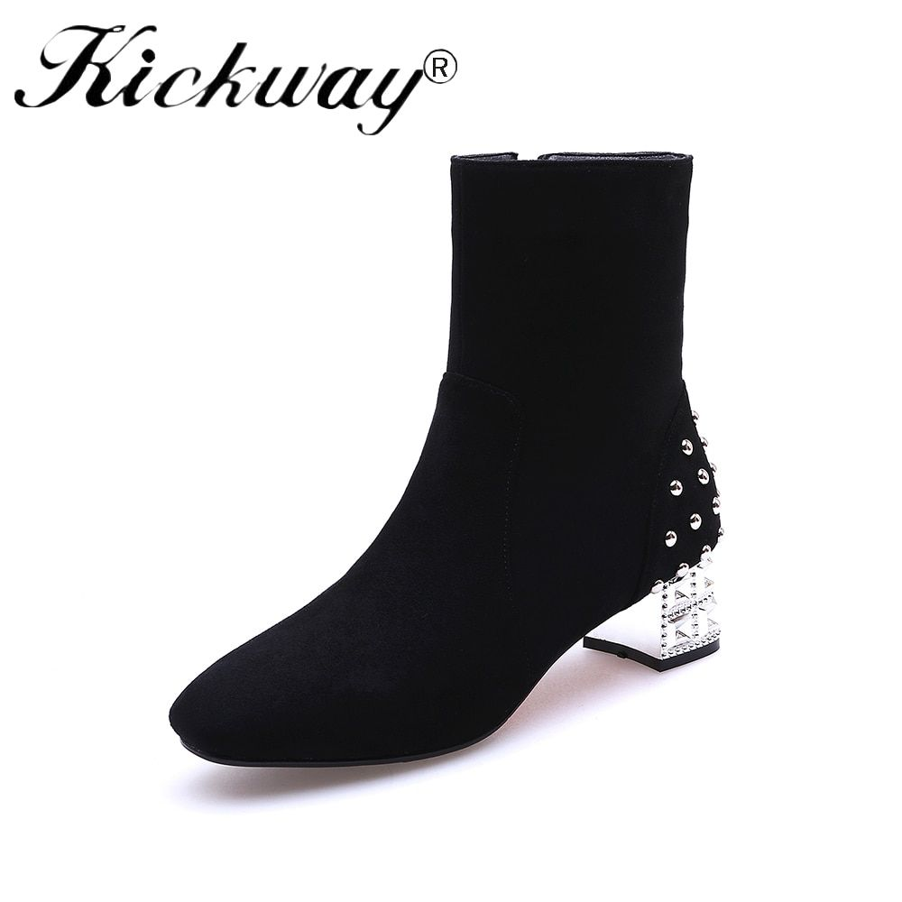 Kickway Faux suede ankle boots fashion square toe square heel women boots med heel lady boots side zip plus size 43 boots women