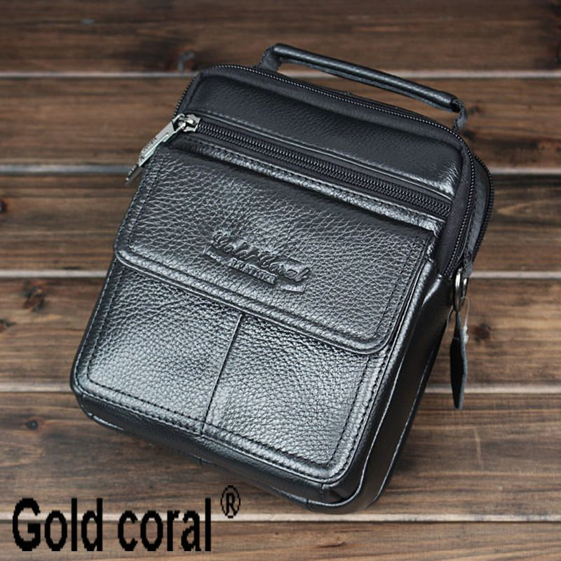 Hot selling genuine leather business male handbags casual men messenger bags with high quality man shoulder bag
