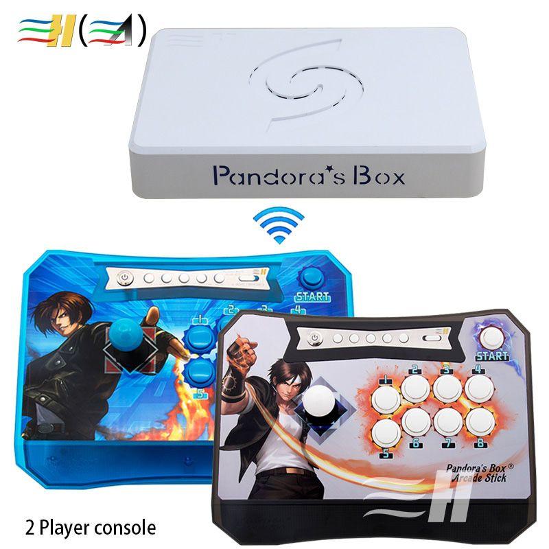 Pandora Box 6 1300 in 1 drahtlose konsole 2 Spieler drahtlose stick arcade controller joystick können hinzufügen 3000 spiele fba mame ps1 3d