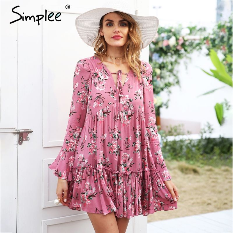Simplee Lace up floral print dress women Long sleeve ruffle loose short dress 2018 Spring casual summer dress female streetwear