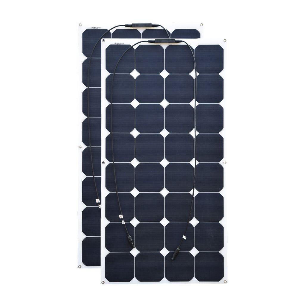 100W 18V 2pcs ETFE flexible solar panel for RV Boat Golf Marine Yachts Home use bendable light 21% 32pcs cell high grade
